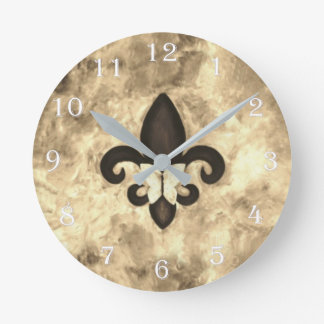 Stubborn Decor | Sepia Brown Butterfly Fleur d Lis Round Clock