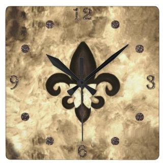 Stubborn Decor | Sepia Brown Butterfly Fleur d Lis Square Wall Clock