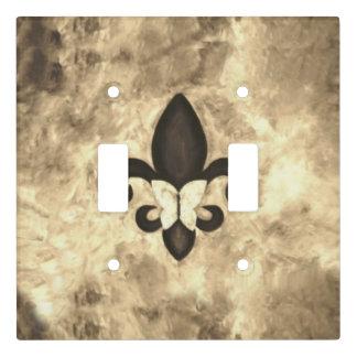 Stubborn Decor Sepia Brown Butterfly Fleur de Lis Light Switch Cover