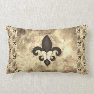 Stubborn Decor Sepia Brown Butterfly Fleur de Lis Lumbar Pillow
