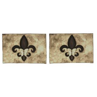 Stubborn Decor Sepia Brown Butterfly Fleur de Lis Pillow Case