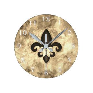 Stubborn Decor Sepia Brown Butterfly Fleur de Lis Round Clock