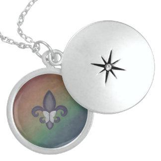 Stubborn Fleur De Lis Butterfly Rainbow Pride Flag Locket Necklace