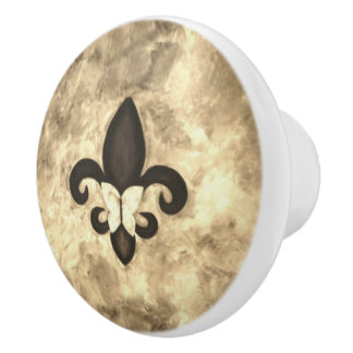 Stubborn Kitchen | Sepia Tan Butterfly Fleur d Lis Ceramic Knob