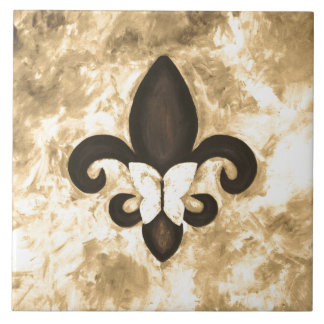 Stubborn Kitchen | Sepia Tan Butterfly Fleur d Lis Ceramic Tile
