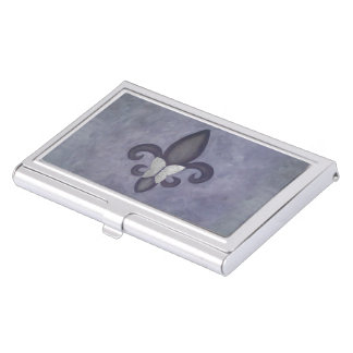 Stubborn Office | Purple Butterfly Fleur de Lis Business Card Holder