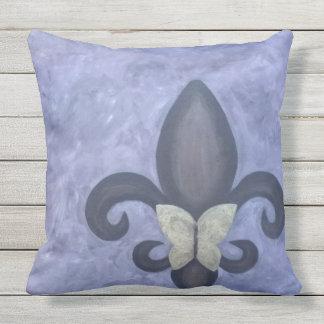 Stubborn Periwinkle Blue Butterfly Fleur de Lis Throw Pillow