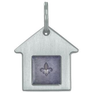 Stubborn Purple Silver Fade Butterfly Fleur de Lis Pet Tag