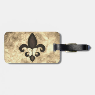Stubborn Sepia Antique Brown Butterfly Fleur d Lis Luggage Tag