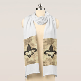 Stubborn Style | Sepia Brown Butterfly Fleur d Lis Scarf