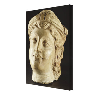 Stucco head, Gandhara, 4th century AD Canvas Print