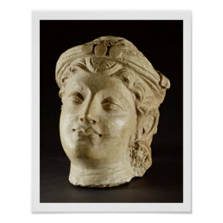 Stucco head, Gandhara, 4th century AD Poster