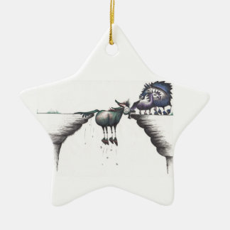 Stuck between a Rock and a Hard Place!!! Double-Sided Star Ceramic Christmas Ornament