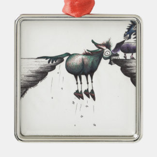 Stuck between a Rock and a Hard Place!!! Square Metal Christmas Ornament