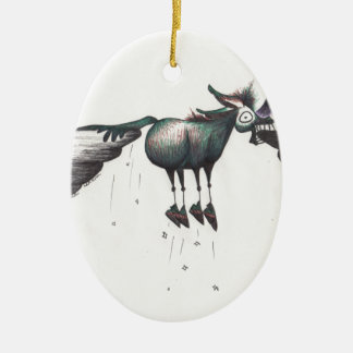 Stuck between a Rock and a Hard Place!!! Double-Sided Oval Ceramic Christmas Ornament