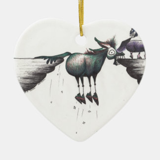 Stuck between a Rock and a Hard Place!!! Double-Sided Heart Ceramic Christmas Ornament