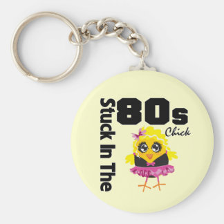 Stuck in the 80s Chick Basic Round Button Keychain