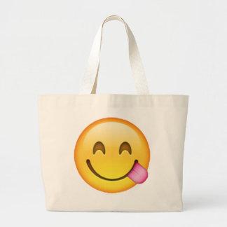 Stuck Out Tongue - Emoji Large Tote Bag