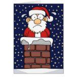 Stuck Santa Greeting Card