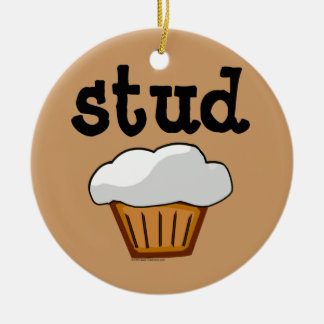 Stud Muffin, Cute Funny Baked Good Double-Sided Ceramic Round Christmas Ornament
