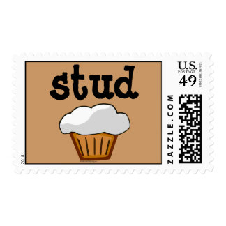 Stud Muffin, Cute Funny Baked Good Stamps
