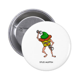 Stud Muffin Gentle Giant Funny Illustration 2 Inch Round Button