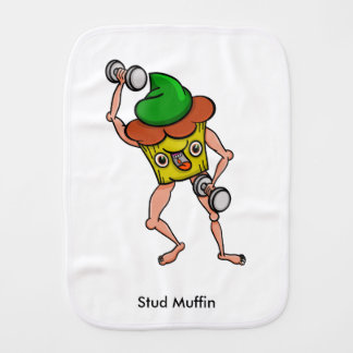 Stud Muffin Posing With Dumbbells Baby Burp Cloth