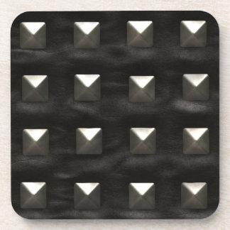 Studded Black Leather Drink Coaster