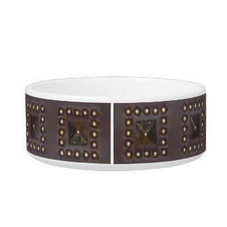 Studded Collar in brown leather Pet Food Bowl
