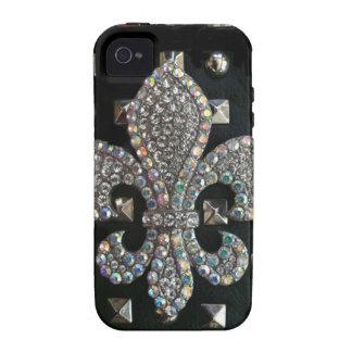 Studded fleur de lis print case Case-Mate iPhone 4 covers