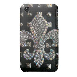 Studded fleur de lis print case iPhone 3 covers