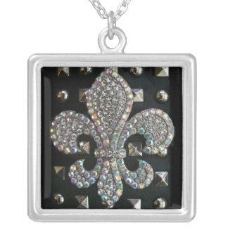 Studded fleur de lis print case silver plated necklace