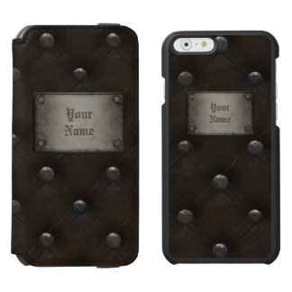 Studded Leather Armor With Plaque iPhone 6/6s Wallet Case