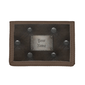 Studded Leather Armor With Plaque Trifold Wallet