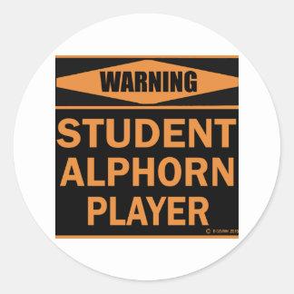 Student Alphorn Player Classic Round Sticker
