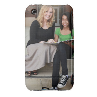 student and teacher outside on steps at school iPhone 3 Case-Mate case