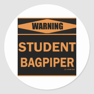 Student Bagpiper Classic Round Sticker