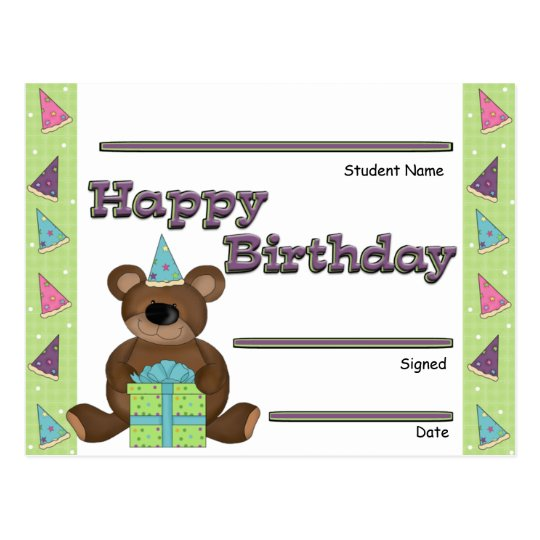 Student Birthday Recognition Award Postcard