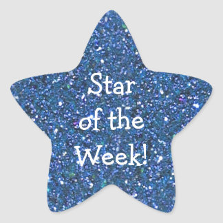 STUDENT BLUE (faux) GLITTER STAR-OF-WEEK STICKERS