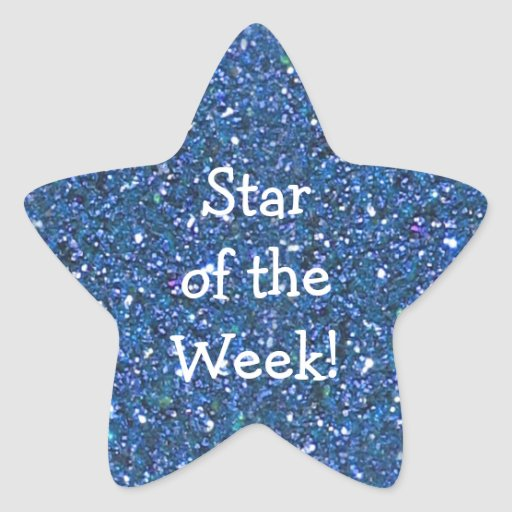 STUDENT BLUE GLITTER STAR-OF-WEEK STICKERS