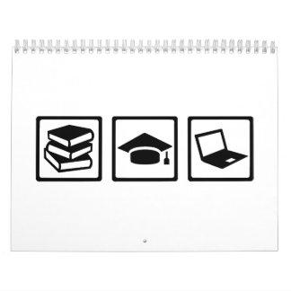 Student books graduation computer calendar