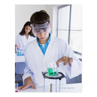 Student doing science experiment 2 postcard