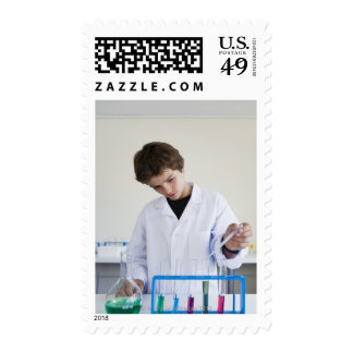 Student doing science experiment 4 stamps