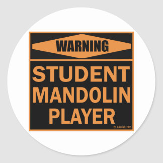Student Mandolin Player Classic Round Sticker
