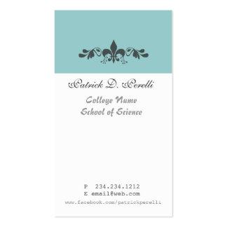 Student Minimal Fleur-de-lis Blue White Modern Business Card