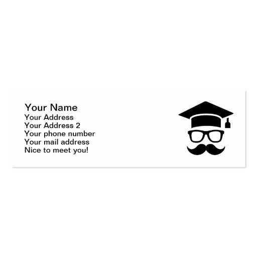 student mustache graduation double sided mini business cards pack of 20 zazzle. Black Bedroom Furniture Sets. Home Design Ideas