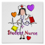 Student Nurse Art Poster-Embossed Style Graphics