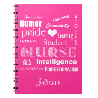 Student Nurse-Attributes+Heart/Personalize Name Spiral Notebook