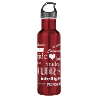 Student Nurse-Attributes/Heart+Personalize Name Stainless Steel Water Bottle