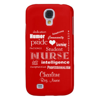 Student Nurse-Attributes+Name /Fire Engine Red Samsung S4 Case